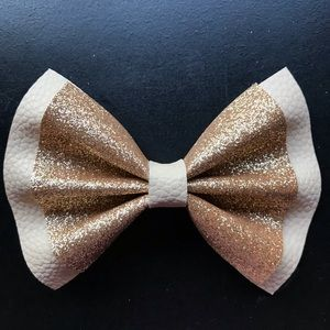 Beige and Gold Faux Leather Glitter Bow